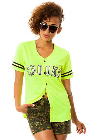 Crooks and Castles Shirt Athletica Baseball Jersey in Neon Yellow -  Karmaloop.com