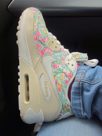 pink flowers floral shoes nike airmax love pink nike