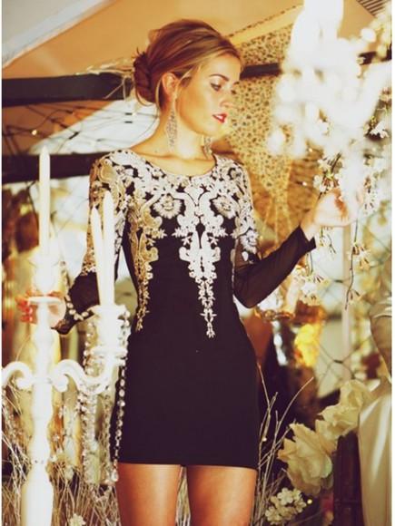 mini long sleeves party prom dress women sleeve vintage aprty dress sheath dress homecoming dress embroiery