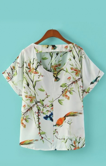 O-neck Short Sleeves Birds Printing Chiffon Blouse