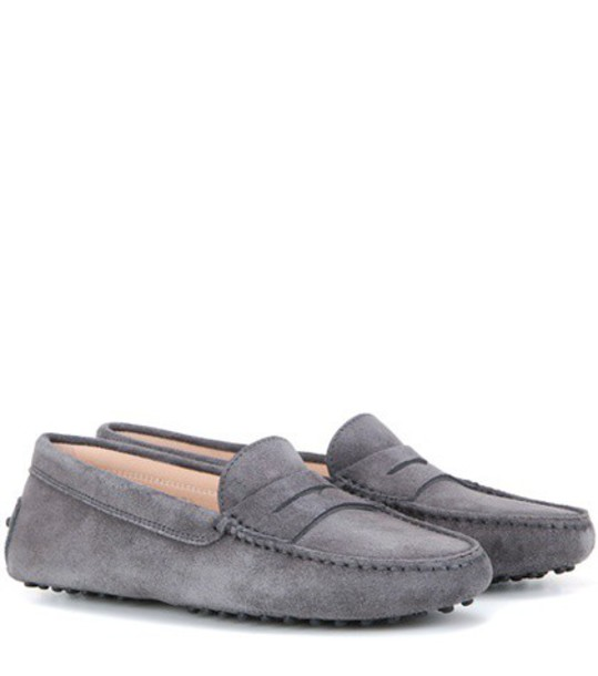 Tod's Gommini Suede Loafers in grey