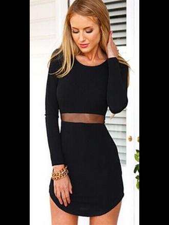 dress black dress mesh cut-out bodycon dress