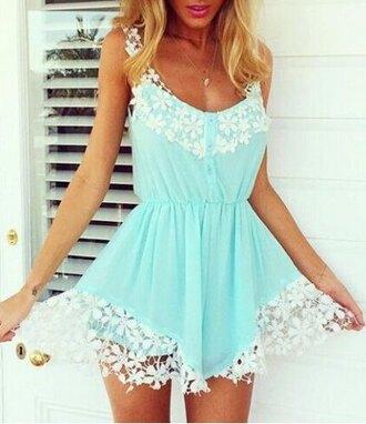 romper pretty girly lace blue