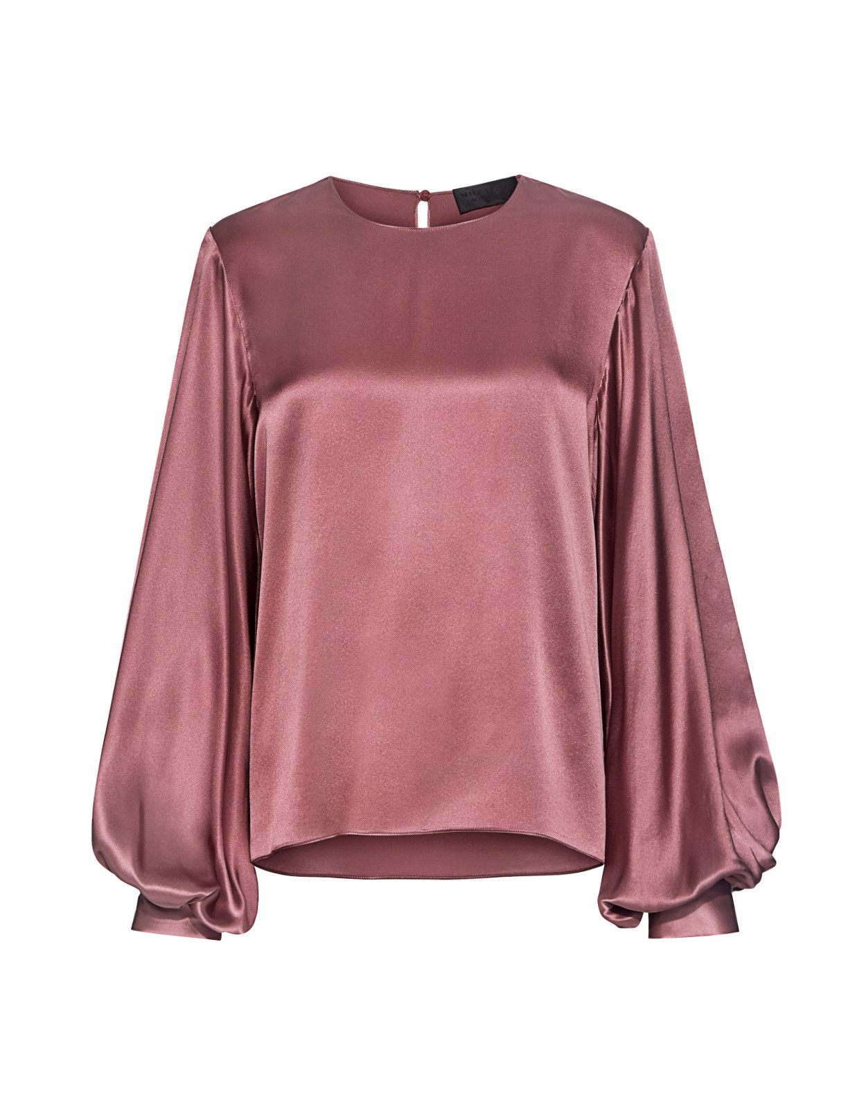 Loretta Poet Sleeve Open Back Silk Satin Blouse Pink