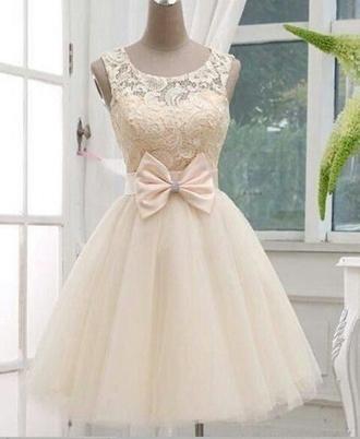 dress lase bows white dress