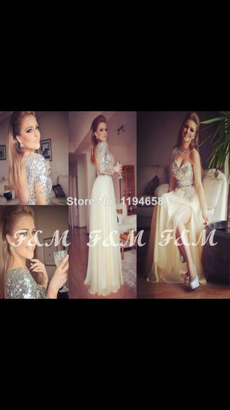 cream dress with silver sparkles one sleeve dress sweetheart neckline colar neck dress high waist dress belt long prom dress