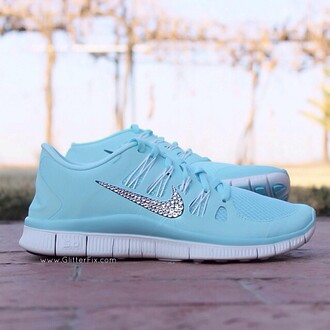 shoes nike running shose shose blue bling shoes baby blue dazzled ice blue rhinestones nike running shoes turquoise turquoise shoes