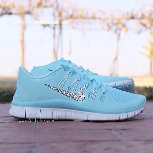 shoes rhinestone ice blue nike running shose shose blue bling shoes baby blue dazzled