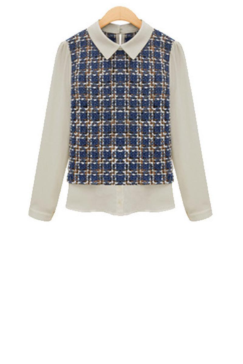 New England Lattice Long Sleeve Doll Collar Chiffon Bottoming Shirt,Cheap in Wendybox.com