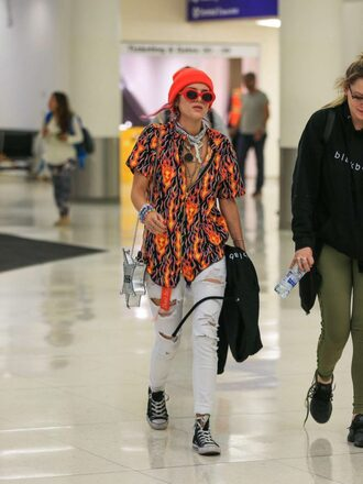 shoes blouse orange beanie bella thorne jeans ripped jeans top