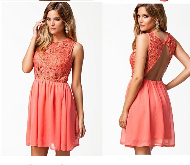 Hot lace hollow out sexy dress