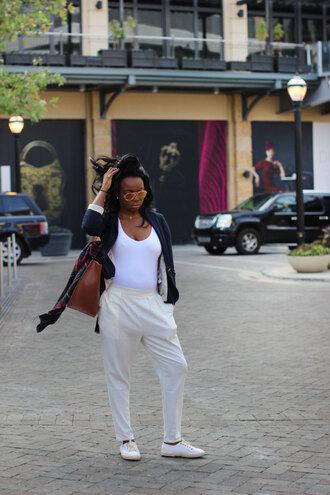 pants blogger white blazer sunglasses millennielle scarf