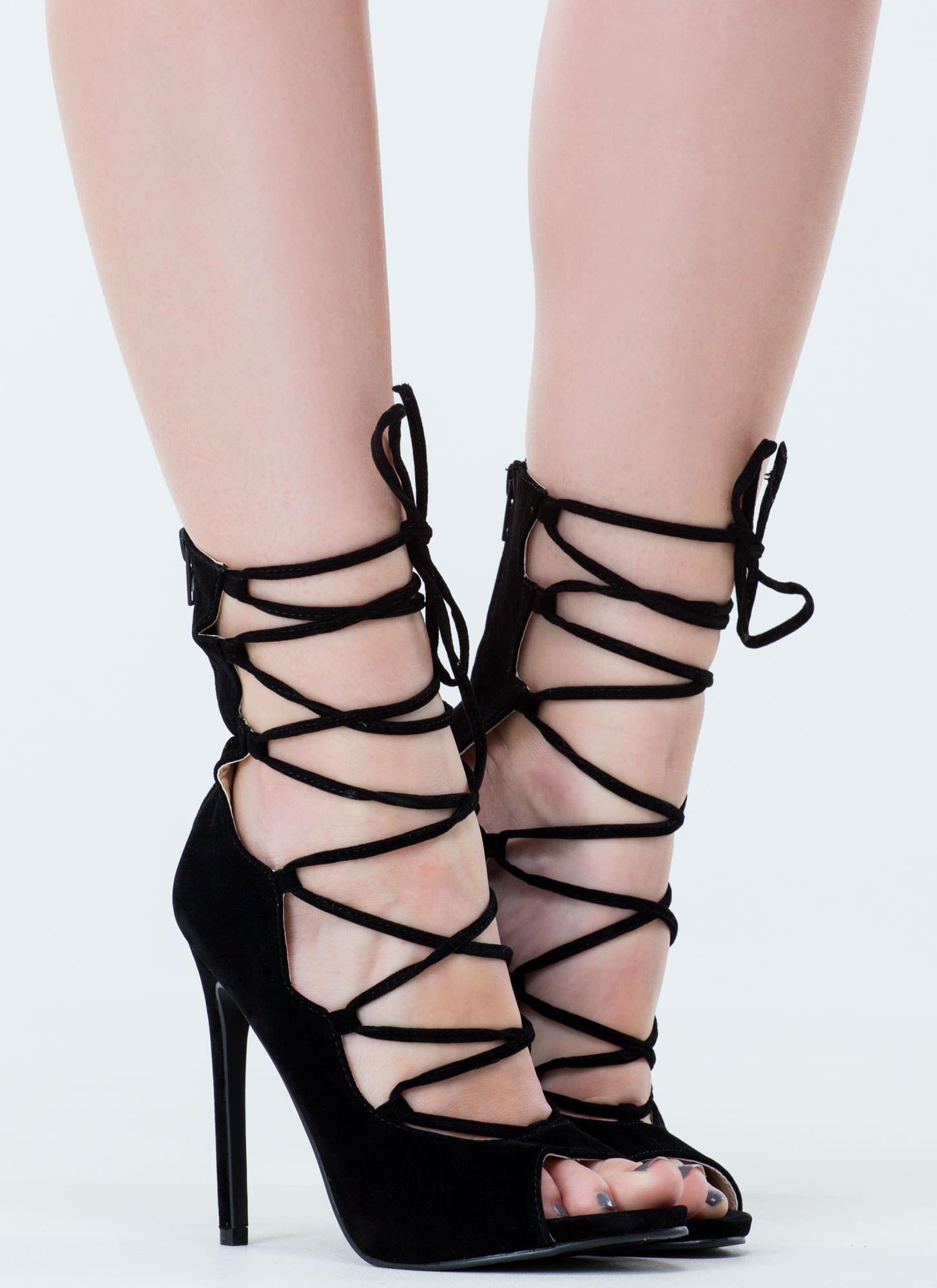 black velvet lace up heels
