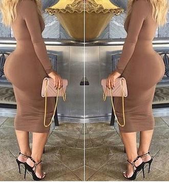 dress ciera rogers brown dress bodycon dress midi dress