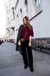 pants,top,grey coat,tumblr,black pants,wide-leg pants,wide-leg velvet pants,red top,coat,bag,crossbody bag