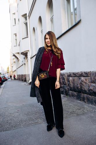 pants top grey coat tumblr black pants wide-leg pants wide-leg velvet pants red top coat bag crossbody bag