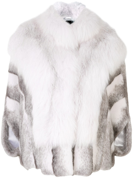 Cara Mila cape fur fox women white top