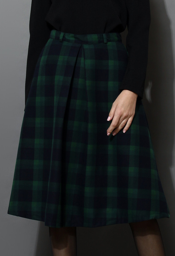skirt green plaid check midi skirt