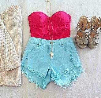 shorts clothes high heels high waisted bustier pink sweater shoes tank top blouse acid wash blue wedges shows strapless bralette crochet fabric tumblr fashion jean mini shorts crop top bra red top mini shorts jacket jewels cardigan top jumpsuit short shorts crop tops high heel sandals