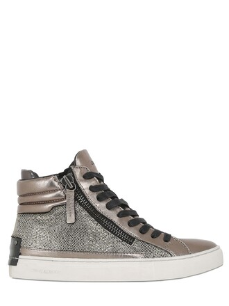 metallic high sneakers high top sneakers leather dark gold shoes