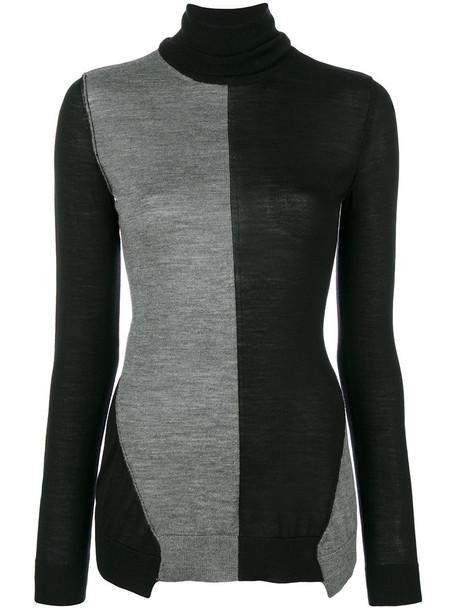 jumper turtleneck women black silk wool sweater