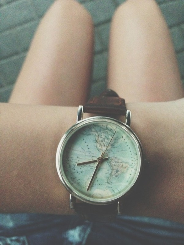 jewels watch map clock world hipster indie cartography silver brown watch vintage watch clock map print lovely vintage map watch tan strap silver lining earth word cuir