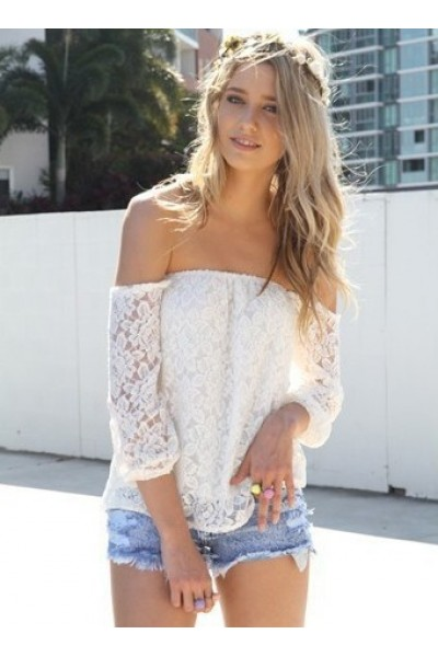 Kcloth off shoulder lace blouse