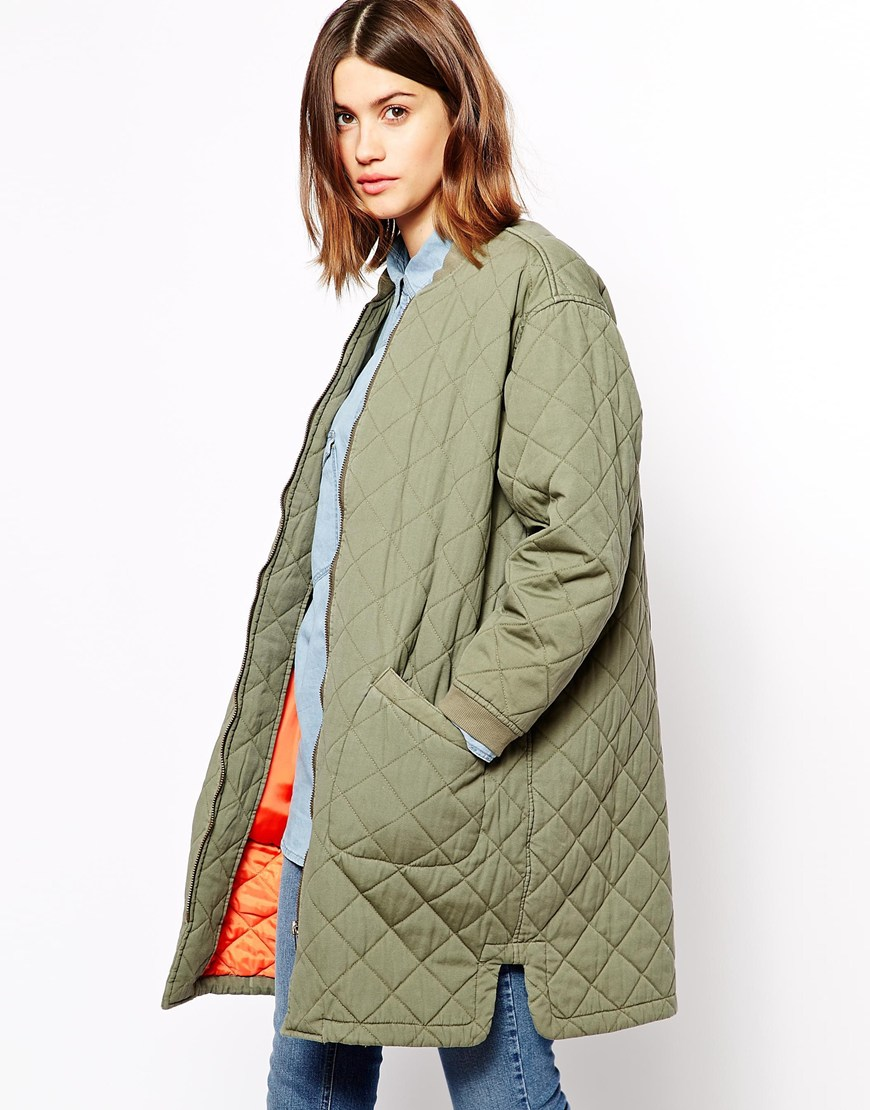 Ganni Quilted Army Coat at asos.com