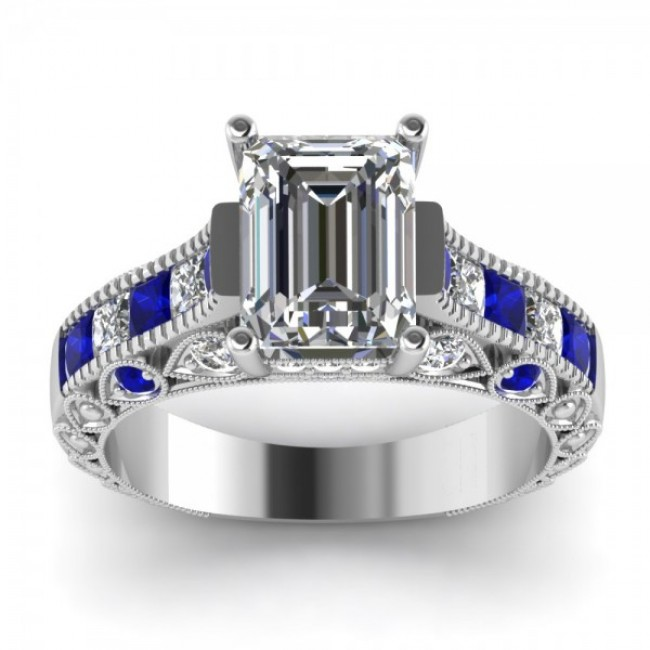 emerald cut vintage engagement ring with blue