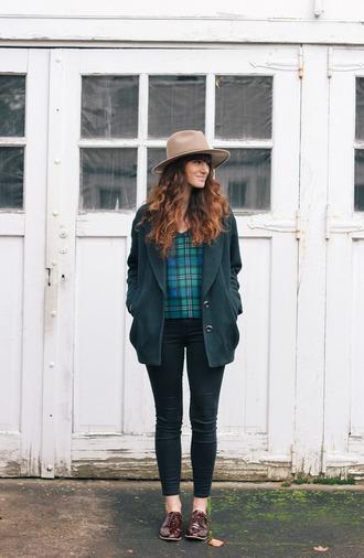 hat blogger jacket tartan jeans the mop top