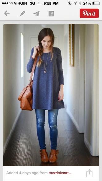 dress blue sweater oversized sweater longsleeve long sleeves comfy casual
