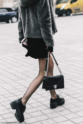 bag tumblr fashion week 2017 streetstyle net tights tights fishnet tights skirt mini skirt black skirt black bag chain bag dior bag dior diorama bag boots black boots ankle boots jacket fur jacket faux fur jacket grey fur jacket