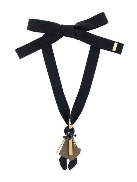 MARNI women geometric necklace leather cotton black jewels
