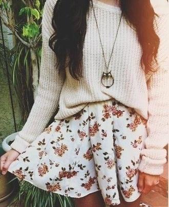 skirt floral skirt sommer skater skirt colorful sweater
