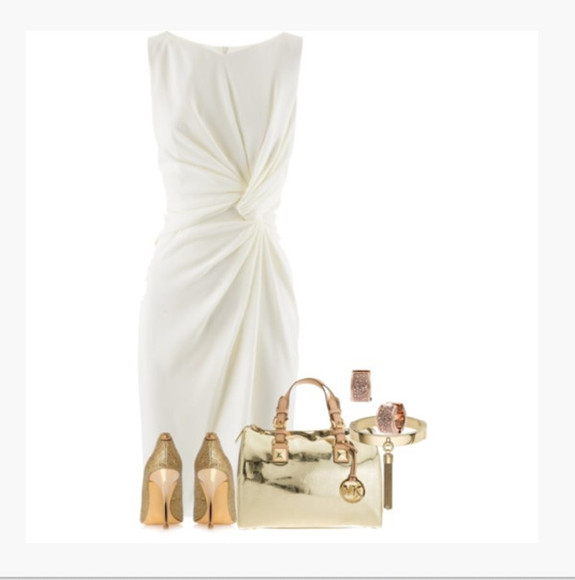 ivory dress dress shoes high heels bag purse sleeveless dress gathered dress ruched ruching cowl neck shiny purse bracelet earrings outfit