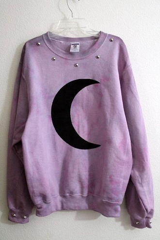 pastel goth emo goth cool moon purple studs pullover sweatshirt soft grunge cool girl style crewneck bubblegum grunge pink sweater pink sweatshirt studded sweater sweater pastel spiked oversized sweater shirt pastel sweater