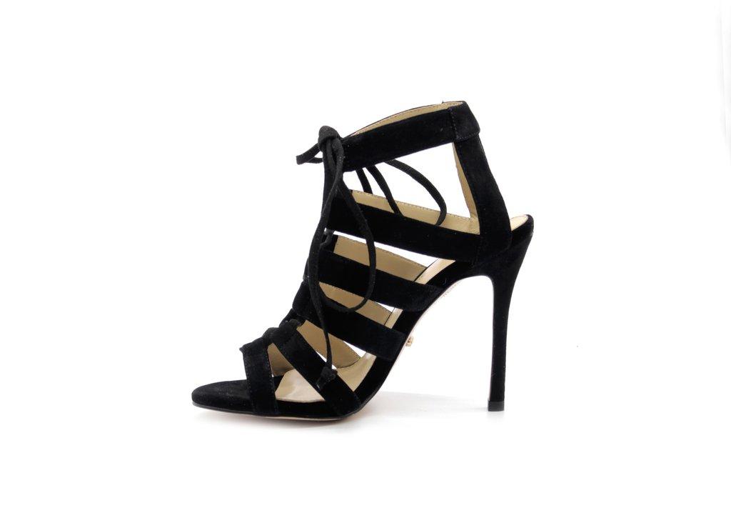 4 Inch Heels - Black Suede Strappy Sandals