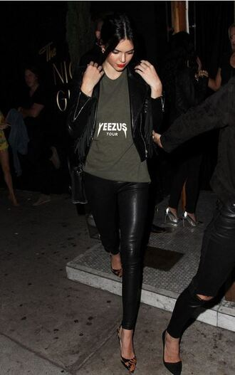 shoes top pumps pants jacket kendall jenner leather pants yeezus