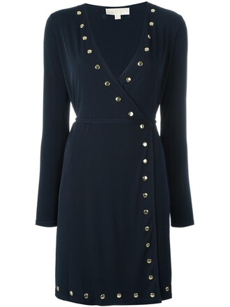 dress wrap dress studded women spandex blue