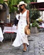 dress,button up,midi dress,chanel mules,v neck dress,bag,straw hat,sunglasses,earrings