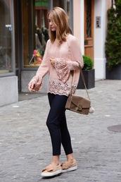 blouse,tumblr,pink blouse,bell sleeves,pants,blue pants,stripes,striped pants,sneakers,bag,shoes