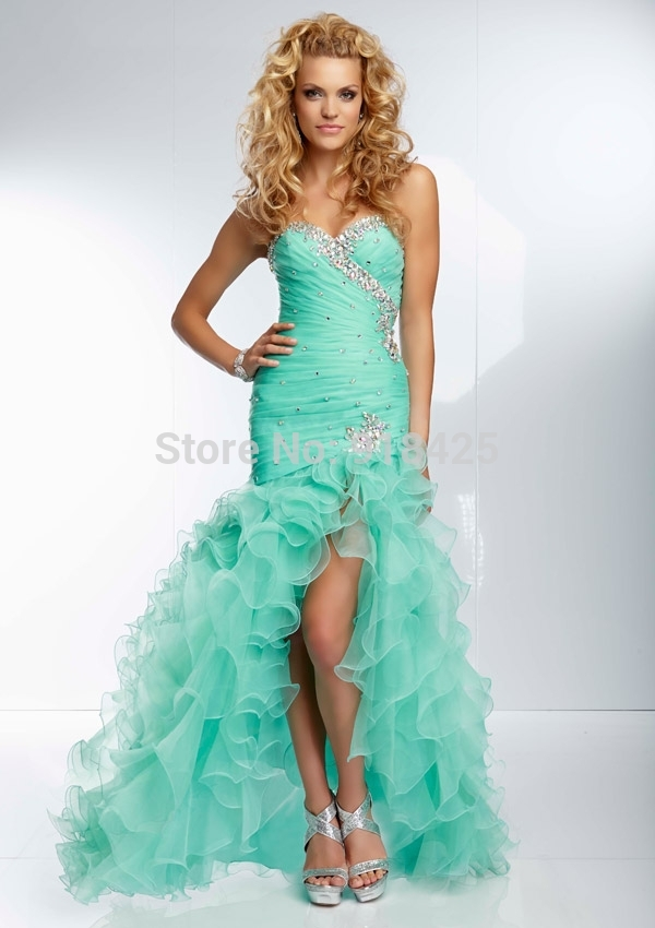 Design Beaded Sweetheart Neckline Ruffled Organza Aqua Mermaid ...