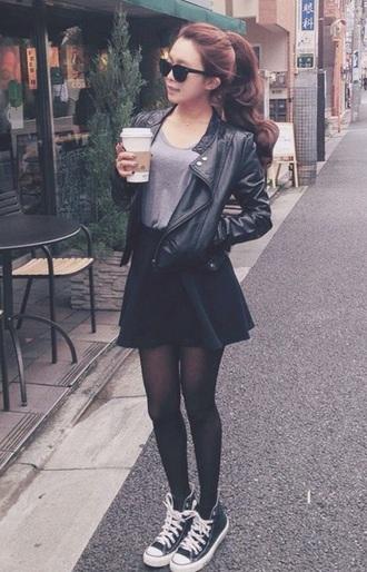 coat grunge t-shirt converse top skirt tights shoes