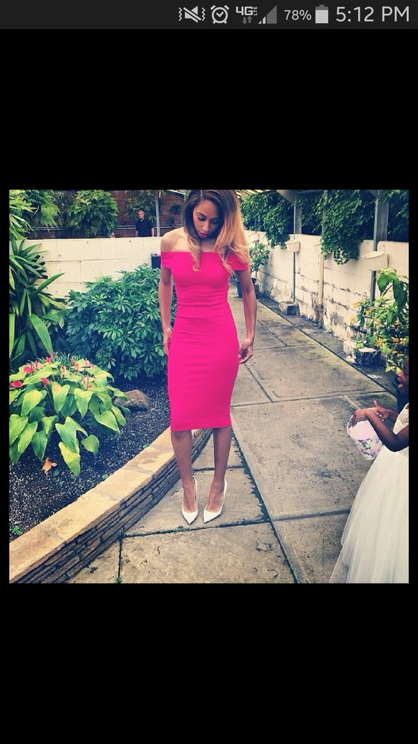 dress hot pink off the shoulder dress midi dress