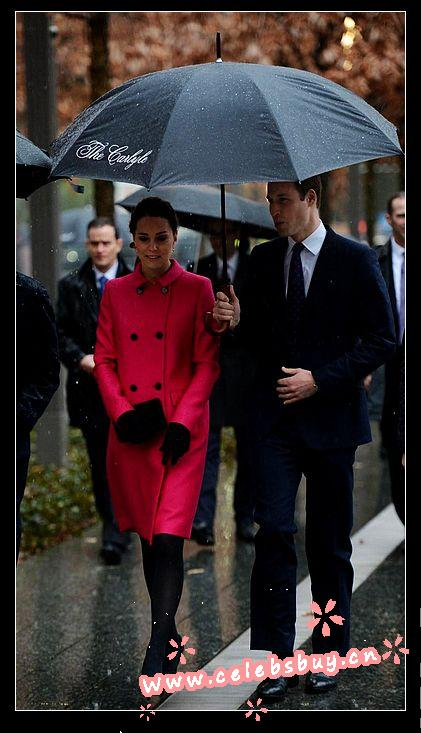 Kate middleton wool fuchsia double breasted coat_new arrivals_celebrity dress online shopping prom dress