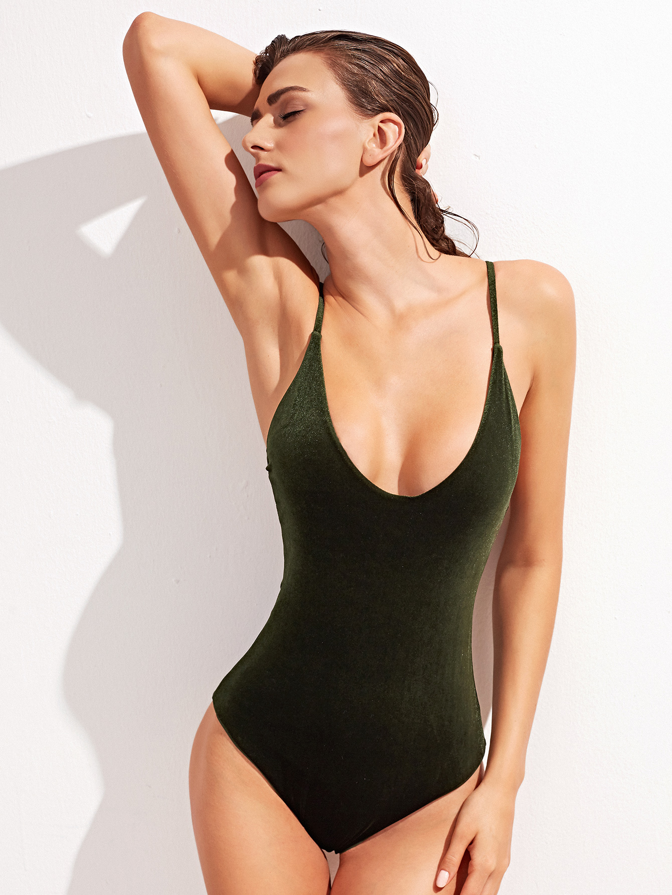 9f7900fcaad Dark Green Cross Back One-Piece Velvet Swimwear -SheIn(Sheinside)