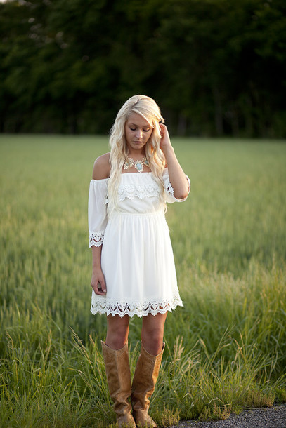 dress, white, lace, southern, trendy, vintage, off the ...