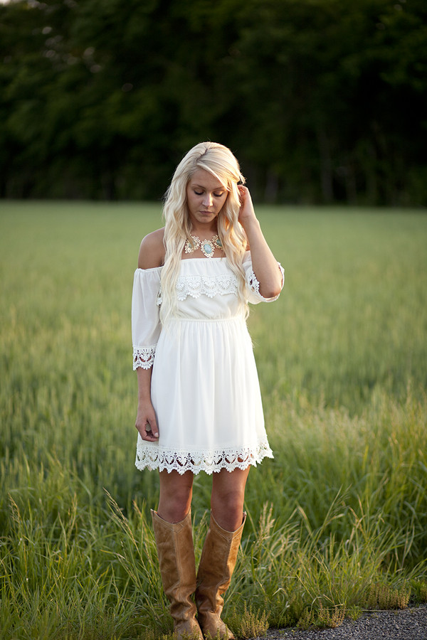Dress White Lace Southern Trendy Vintage Off The