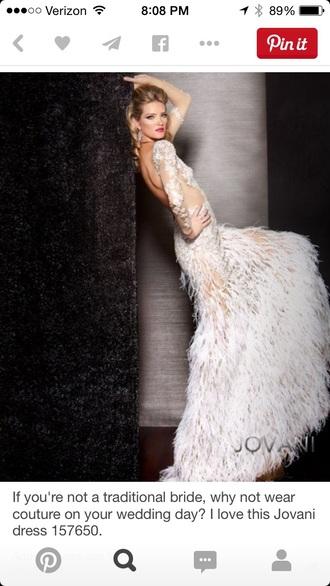 dress white dress prom dress feather dress gown prom gown wedding dress jovani prom dress