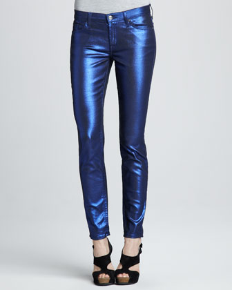 7 For All Mankind Skinny Electric Blue Liquid Metallic Skinny Jeans - Bergdorf Goodman